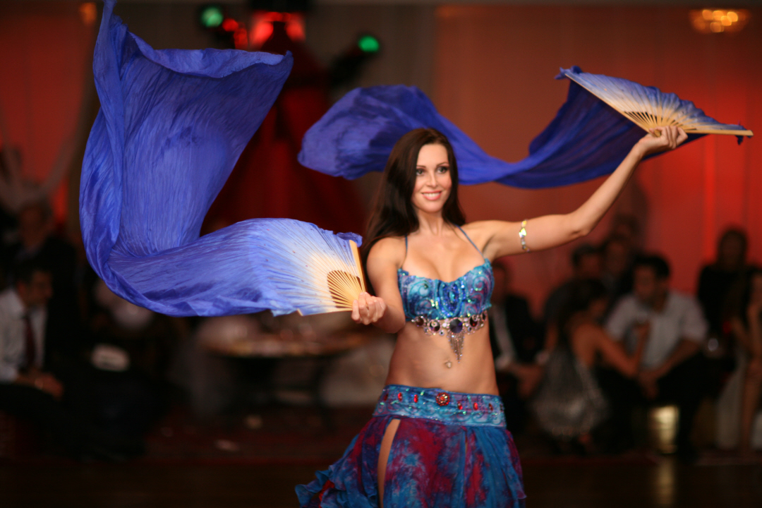 Belly Dancer with blue fan veils